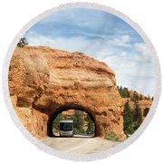 Rv Red Canyon Tunnel Utah Round Beach Towel