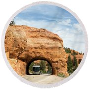 Rv Red Canyon Tunnel Utah Round Beach Towel