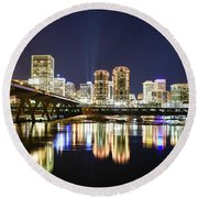 Rva Night Lights Round Beach Towel