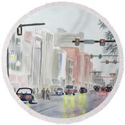 S. Main Street -ann Arbor Michigan Round Beach Towel