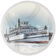 Round Beach Towel featuring the photograph S. S. Sicamous II by John Poon