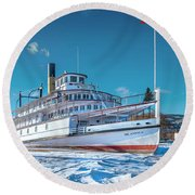 Round Beach Towel featuring the photograph S. S. Sicamous by John Poon