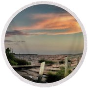 Time Is A River Round Beach Towel