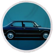 Saab 90 1985 Painting Round Beach Towel