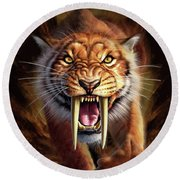 Sabertooth Round Beach Towel by Jerry LoFaro