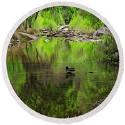 Round Beach Towel featuring the photograph Sabino Reflection Op53 by Mark Myhaver