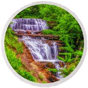 Round Beach Towel featuring the photograph Sable Falls by Nick Zelinsky
