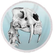 Sabre-toothed Tiger Round Beach Towel