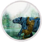 Sabre Toothed Tigers  Prehistoric Animals Round Beach Towel