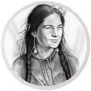 Sacagawea Round Beach Towel by Greg Joens
