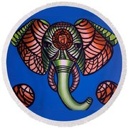 Sacral - Abstract Painting Round Beach Towel
