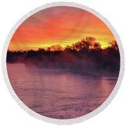 Sacramento River Sunrise Round Beach Towel