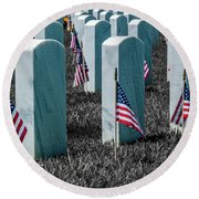 Round Beach Towel featuring the photograph Sacramento Valley Veterans Cemetary by Bill Gallagher