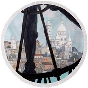 Sacre Coeur From Musee D'orsay Round Beach Towel by Diane Arlitt