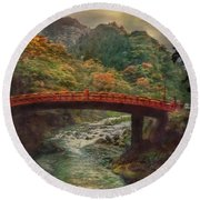 Round Beach Towel featuring the photograph Sacred Bridge by Hanny Heim