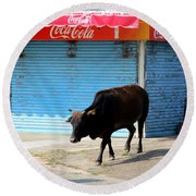 Round Beach Towel featuring the photograph Sacred Cow 1 by Randall Weidner