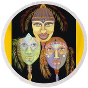 Sacred Feathers Round Beach Towel