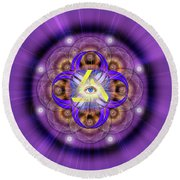 Sacred Geometry 639 Round Beach Towel by Endre Balogh