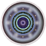 Sacred Geometry 640 Round Beach Towel by Endre Balogh