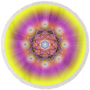 Sacred Geometry 643 Round Beach Towel by Endre Balogh