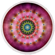 Sacred Geometry 644 Round Beach Towel by Endre Balogh