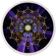 Sacred Geometry 647 Round Beach Towel