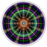 Sacred Geometry 652 Round Beach Towel