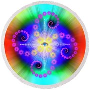 Sacred Geometry 653 Round Beach Towel