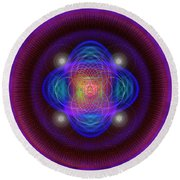 Sacred Geometry 654 Round Beach Towel