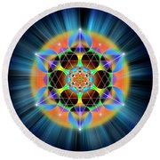 Sacred Geometry 709 Round Beach Towel