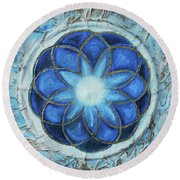 Round Beach Towel featuring the mixed media Sacred Geometry by Angela Stout