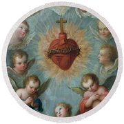 Sacred Heart Of Jesus Surrounded By Angels Round Beach Towel