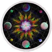 Round Beach Towel featuring the digital art Sacred Planetary Geometry - Dark Red Atom by Iowan Stone-Flowers