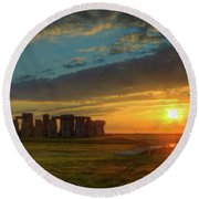 Sacred Sunset Round Beach Towel