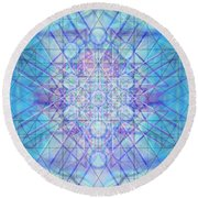 Round Beach Towel featuring the digital art Sacred Symbols Out Of The Void A3c by Christopher Pringer