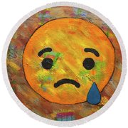 Sad Abstract Round Beach Towel by Gerhardt Isringhaus
