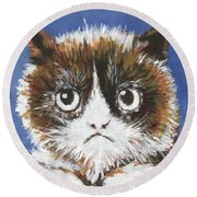 Sad Cat Round Beach Towel
