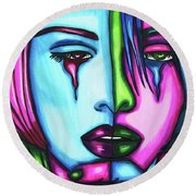 Sad Crying Woman Face Abstract Art Round Beach Towel