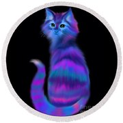 Round Beach Towel featuring the painting Sad Eyed Colorful Cat by Nick Gustafson