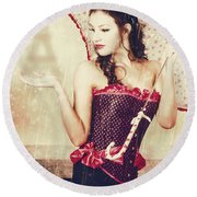 Sad French Pin-up Woman. Loss In The City Of Love Round Beach Towel
