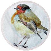 Round Beach Towel featuring the painting Sad Robin by Jasna Dragun