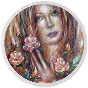 Sad Venus In A Rose Garden 060609 Round Beach Towel