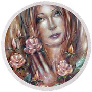 Round Beach Towel featuring the painting Sad Venus In A Rose Garden 060609 by Selena Boron