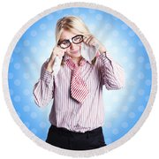 Sad Worker In Business Trouble Round Beach Towel
