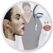 Sade In Layers  Round Beach Towel