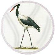 Saddle Billed Stork Round Beach Towel