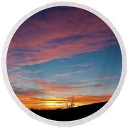 Saddle Road Sunset Round Beach Towel