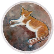 Saddle Tramp- Ranch Kitty Round Beach Towel