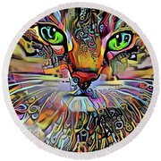 Sadie The Colorful Abstract Cat Round Beach Towel