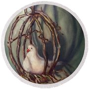 Round Beach Towel featuring the painting The Dove by Randol Burns